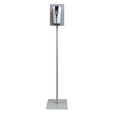 Hand-Desinfektionsspender-Display mit Infrarot-Spender (kontaktlos) Stahl-Bodenplatte 320x320mm und Aufnahmeplatte - desinfektionsspender_display_frontal