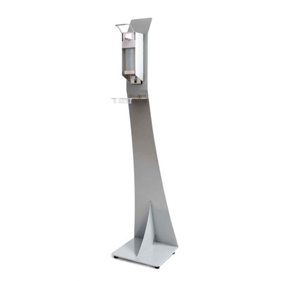 Desinfektionsspender-Display mit Pumpspender Spenderpumpe mit Armhebel Grundgestell pulverbeschichtet in RAL 9006 weißaluminium - Pumpspender Detail