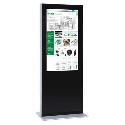 Digitale Info-Stele doppelseitig für den Inneneinsatz - Größe: 85 Zoll Farbe: schwarz - Digitale Infostele einseitig 65 Zoll schwarz