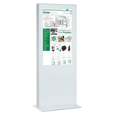 Digitale Info-Stele doppelseitig für den Inneneinsatz - Größe: 85 Zoll Farbe: weiss - Digitale Infostele einseitig 65Zoll weiß