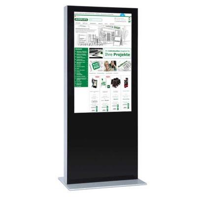 Digitale Info-Stele einseitig für den Inneneinsatz - Größe: 82 Zoll Farbe: schwarz - Digitale Infostele einseitig 82 Zoll schwarz