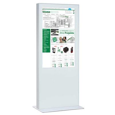 Digitale Info-Stele einseitig für den Inneneinsatz - Größe: 82 Zoll Farbe: weiss - Digitale Infostele einseitig 82 Zoll weiß