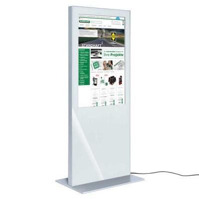 Digitale Info-Stele SLIM für den Inneneinsatz - Größe: 55 Zoll Farbe: weiss - Digitale Infostele SLIM einseitig 55 Zoll weiß