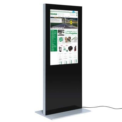 Digitale Info-Stele SLIM für den Inneneinsatz - Größe: 55 Zoll Farbe: schwarz - Digitale Infostele SLIM einseitig 55 Zoll schwarz
