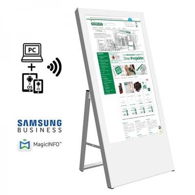 Digitaler Kundenstopper Ausführung: weiss - einseitig 43 Zoll - digitaler kundenstopper 43 zoll weiss start mit logo