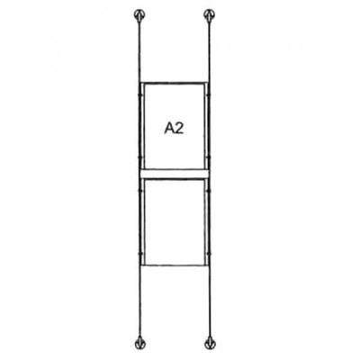 Drahtseilsystem Acryl Boden/Decke zum Verspannen zwischen Boden und Decke DIN A2 (420x594 mm) - da-bd-2xa2 - drahtseilsystem 2x din a2 hochformat