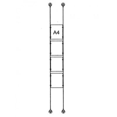 Drahtseilsystem Acryl Boden/Decke zum Verspannen zwischen Boden und Decke DIN A4 (210x297 mm) - da-d-4xa4 - drahtseilsystem 4x din a4 hochformat