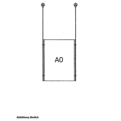 Drahtseilsystem Acryl Deckenabhängung zum Abhängen von der Decke DIN A0 (841x1189 mm) - da-d-1xa0 - drahtseilsystem 1x din a0 hochformat decke