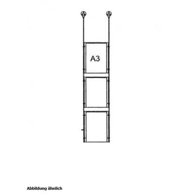Drahtseilsystem Acryl Deckenabhängung zum Abhängen von der Decke DIN A3 (297x420 mm) - da-d-3xa3 - drahtseilsystem 3x din a3 hochformat decke