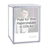 Promotion Theke ALLEGRO® PLUS Podest for 3 DIN A1 posters in portrait format incl. cover plate and shelf - plus-faltpodest plakat