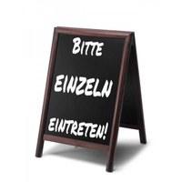 Wooden stand (closed frame) size: 55x85cm - profile: round colour of the wooden frame: dark brown - holz-aufsteller-dunkelbraun