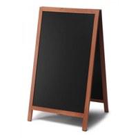 Wooden stand (closed frame) Format: 68x120cm - Profile: eckig colour of the wooden frame: light brown - Holz-Aufsteller-hellbraun-lang