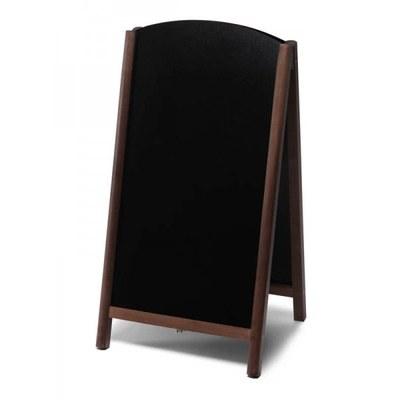 Holz-Aufsteller (oben offener Rahmen) Format: 68x120cm - Profil: rund Farbe des Holzrahmens: dunkelbraun - Holz-Aufsteller-Fast-Switch-dunkelbraun-lang