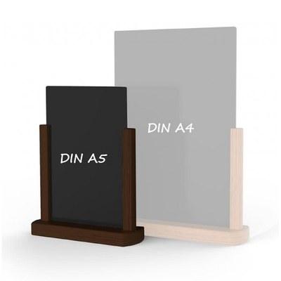 Holz-Tischaufsteller Kreidetafel DIN A5 Hochform. (148x210mm) Farbe des Holzrahmens: dunkelbraun - Holz-Tischaufsteller-DINA5-dunkelbraun