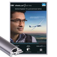 Snap frame Standard Insert format: DIN A4 (210x297 mm) Profile: 15mm mitre - Klapprahmen-15-mm-Profil