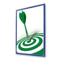 Snap frame Standard Insert format: DIN A4 (210x297 mm) Profile: 25mm mitre - Klapprahmen-25er-Profil-Gehrung-farbig-blau