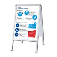 Customer stopper OUTDOOR with posters Insert format: DIN A1 (594x841 mm) Profil: 32mm Rondo - silber-eloxiert - Kundenstopper-Outdoor-DIN-A1-Rondo mit Hygienehinweis