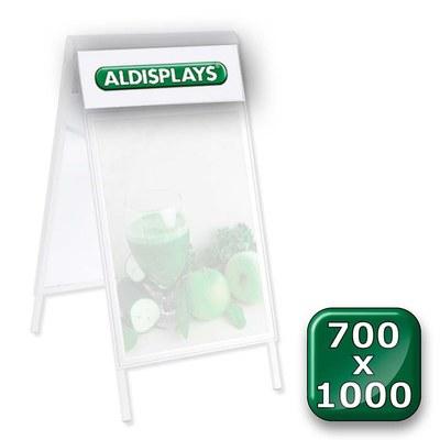 Beidseitiger Digitaldruck Topperblende 700x1.000 = Sichtmass 765 x 293 mm nach von Ihnen gestellten Druckvorlagen - Kundenstopper-Premium-700 x 1000 -Top-Druck