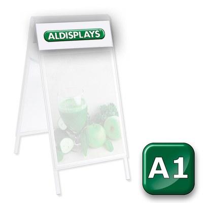 Beidseitiger Digitaldruck Topperblende DIN A1 = Sichtmass 655 x 210 mm nach von Ihnen gestellten Druckvorlagen - Kundenstopper-Premium-DIN-A1-Top-Druck