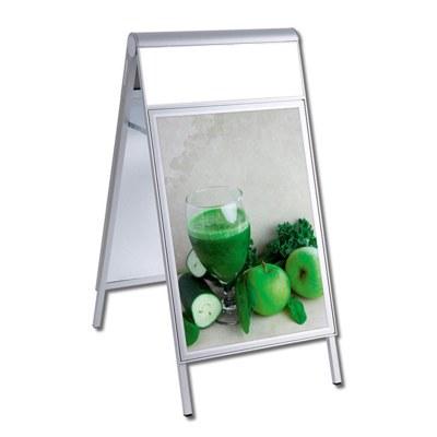Kundenstopper PREMIUM Topper Einlegeformat: 700x1.000 mm mit Info-Topper als Einschubrahmen (unbedruckt) - Kundenstopper-DIN A1-Premium-wasserdicht-mit Logoblende-unbedruckt