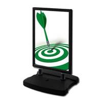 Customer stopper Swing-Master ECO Insert format: DIN A1 (594x841 mm) Profile: 38mm - Top profiles: black - Kundenstopper-Swingmaster- ECO-swz