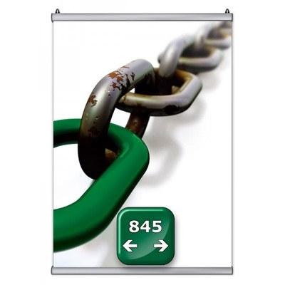 Poster-Snap Klemmleisten-Set Profil-Länge: 845 mm Oberprofile: silber-eloxiert - 1x OHNE und 1x - Poster-Snap-845