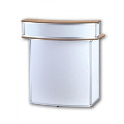 Promotiontheke ALLEGRO®Rondotheke Bar mit Baraufsatz (Aluminium-Rahmen, silber inkl. Deckelplatten (Buche) & Einlegeboden - Rondotheke-mit-Baraufsatz-Front-Buche 2