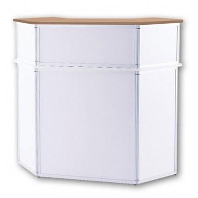 Promotiontheke ALLEGRO®Sechsecktheke Bar mit Baraufsatz (Aluminium-Rahmen, silber inkl. Deckelplatten (Buche) & Einlegeboden - Sechsecktheke-mit-Baraufsatz-Buche 2