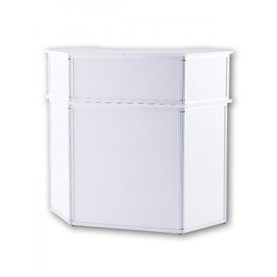 Promotiontheke ALLEGRO®Sechsecktheke Bar mit Baraufsatz (Aluminium-Rahmen, silber inkl. Deckelplatten (weiß) & Einlegeboden - Sechsecktheke-mit-Baraufsatz-Frontal 2