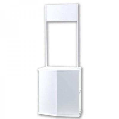Promotiontheke Promotor ECO unbedruckt Faltbarer Korpus aus weißem Kunststoff inkl. Bodenplatte, Einlegeboden und - Promotiontheken-Promotor-Front 1