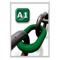 Slide-in insert frame Insert format: DIN A1 (594x841 mm) Profile: 24 mm - silver anodised - slide Inn A1 20er Gehrung