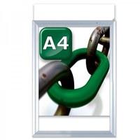 Slide-in insert frame Insert format: DIN A4 (210x297 mm) Profile: 24 mm - silver anodised - klapprahmen-slide in a4
