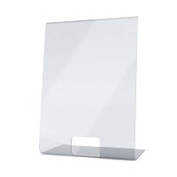 Acrylic protective wall as spit protection L-shaped stand in 500x700x300 mm format crystal clear acrylic glass XT in 4mm material thickness - Spuckschutz L-Aufsteller