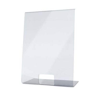 Acrylschutzwand als Spuckschutz L-Aufsteller im Format 500x700x300 mm glasklares Acrylglas XT in 4mm Materialstärke - Spuckschutz L-Aufsteller