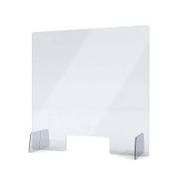 "Acrylic protective wall as spit protection Stand size ""L"" size 650x650x250 mm crystal clear acrylic glass XT in 4mm material thickness - Spuckschutz Aufsteller L"
