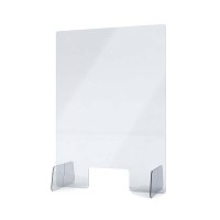 "Acrylic protective wall as spit protection Stand size ""M"" 500x750x250 mm crystal clear acrylic glass XT in 4mm material thickness - Spuckschutz Aufsteller M"