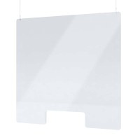 "Acrylic protective wall as spit protection Ceiling hanger size ""L"" Format 1.000x800 mm crystal clear acrylic glass XT in 4mm material thickness - Spuckschutz Deckenhänger L"