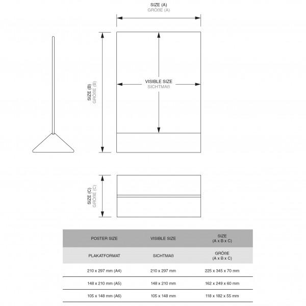 Dispenser-Tisch-Aufsteller-DINA4-Hochformat-SEA01-3-Zeichnung