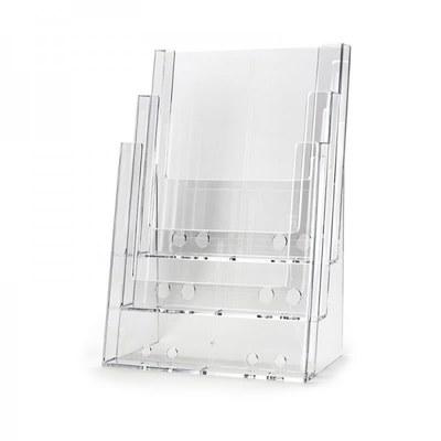 Tischständer - Mehrfach Einlegeformat: DIN A5 (148x210 mm) Anzahl Fächer: 3 (hintereinander) - dispenser-din-a5-3-fach-tisch-pro55