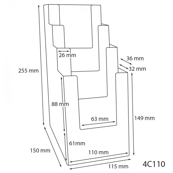 Dispenser-DIN-Lang-4-fach-Tisch-PRO57-Zeichnung