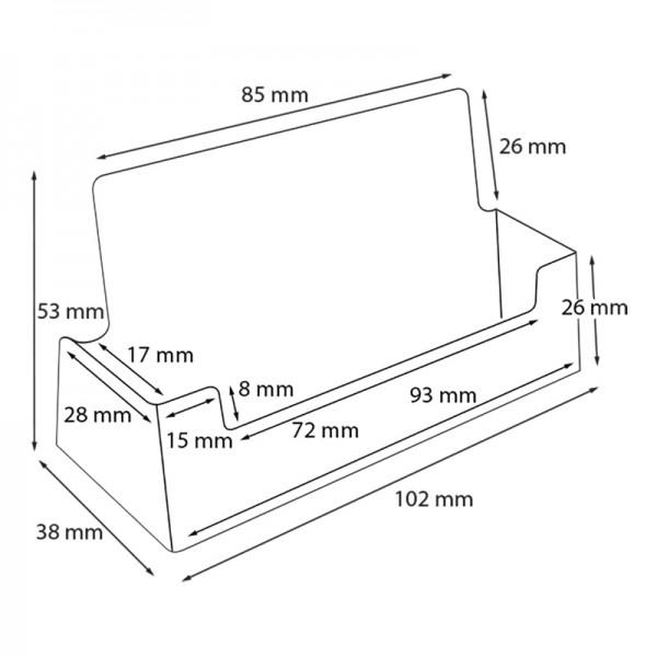 Dispenser-Visitenkarten-1-fach-Querformat-PRO196-Zeichnung
